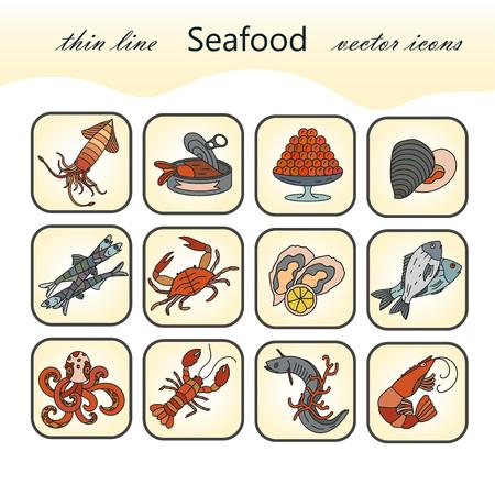 dorado: Seafood color vector icons set. Symbols of various delicacies - oyster, cancer, molluscs, mussels, eel, caviar, anchovies, octopus and dorado