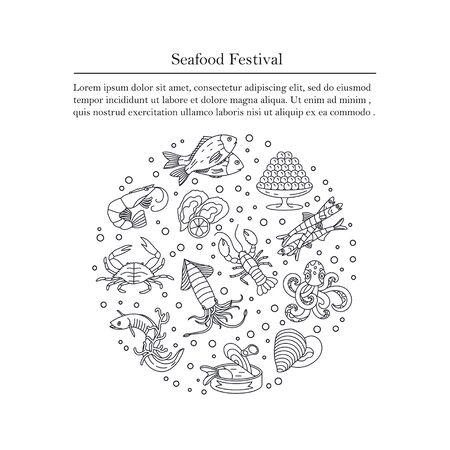 dorado: Seafood vector card with symbols of various delicacies - oyster, cancer, molluscs, mussels, eel, caviar, anchovies, octopus and dorado