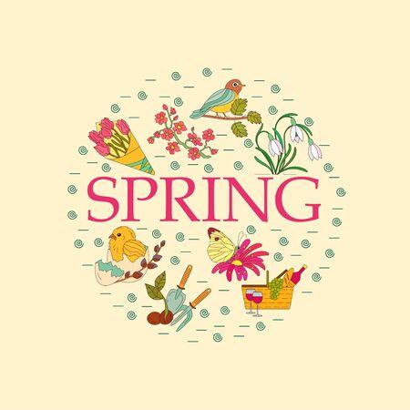 Spring thin line vector card. Springtime poster.