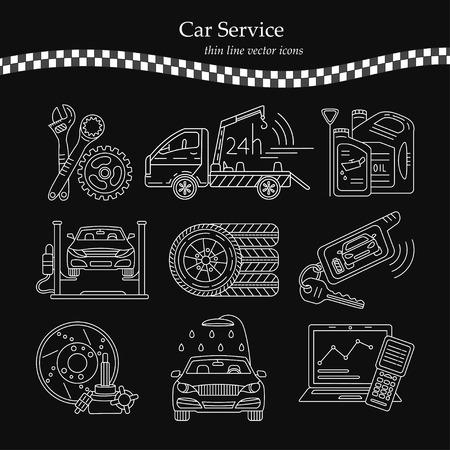 Vector thin line pictogram symbols of car service - tire service, car wash, tow truck, etc.