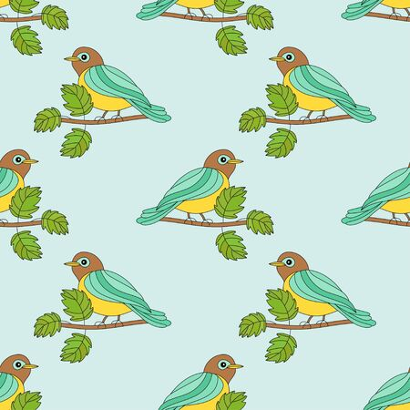 titmouse: Seamless pattern with a tit on a branch. Romantic spring vector illustration with the titmouse.