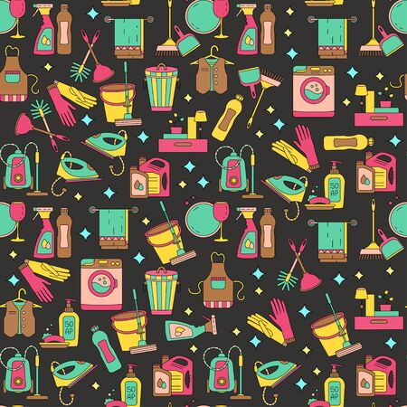 dry cleaners: House cleaning seamless vector pattern. For cleaning companies, laundries and dry cleaners service. For textiles, web and print design.