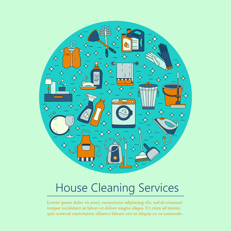 dry cleaners: House cleaning vector card. For cleaning companies, laundries and dry cleaners service. Good for web and print. Stock Photo