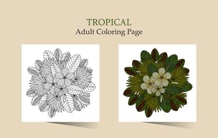 Adulto Antistress Para Colorear. Tarjetas Con Flores Tropicales ...