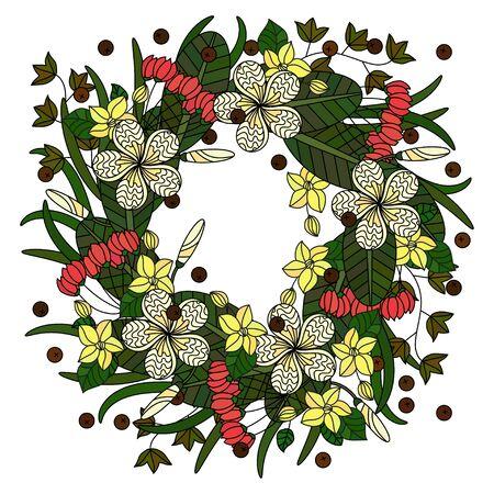 palm wreath: Tropic vector illustration. Wreath of tropical flowers.