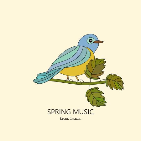 titmouse: Romantic spring illustration with the titmouse. Illustration