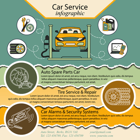 computer repairing: Car service and Tire infographic Illustration