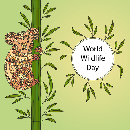 Hand drawn vector zentangle coloring page for adults with cute koala. World wildlife day.