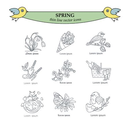 Spring thin line vector icons. Springtime logo for your design. Illustration