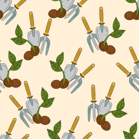 Garden shop vector seamless pattern. Sprout and garden tools.