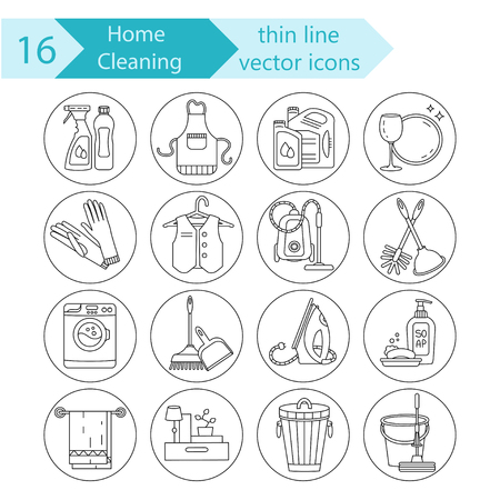 cleaning service: House cleaning thin line vector icon set. For cleaning companies, laundries and dry cleaners service.
