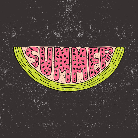 notebook cover: Unique lettering poster with a word Summer. Vector art.