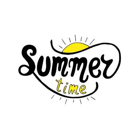 moderm: Summer time. Unique lettering poster. Vector art. Trendy handwritten summer illustration for t-shirt design, notebook cover, posters and cards.