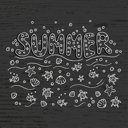short phrase: Unique lettering poster with word Summer.