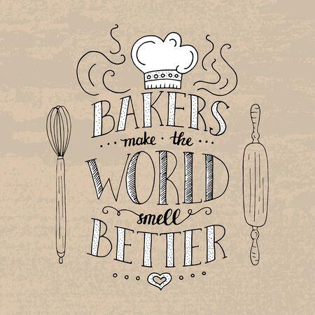 short phrase: Trendy handwritten illustration for t-shirt design, notebook cover, poster for bakery shop and cafe. Illustration