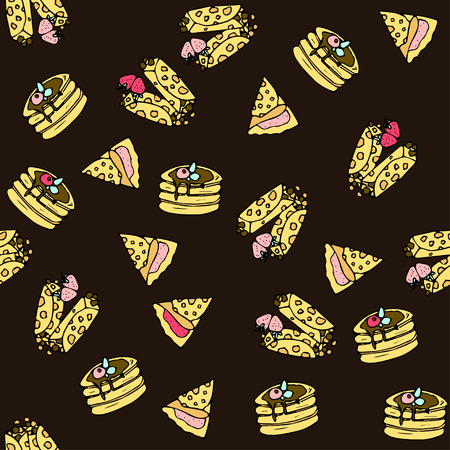 tubule: Seamless vector pattern with doodle sweet pancakes.
