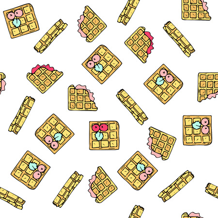 tubule: Seamless vector pattern with doodle sweet waffles.