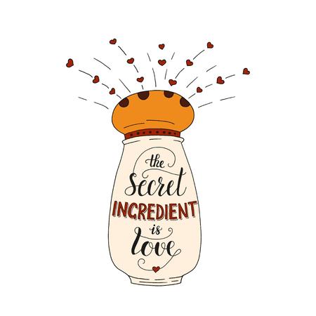 El cartel único de las letras con una frase- el ingrediente secreto es amor. Vector art. Ilustración manuscrita de moda para el diseño de la camiseta, portada del cuaderno, cartel para la tienda de la panadería y el café.