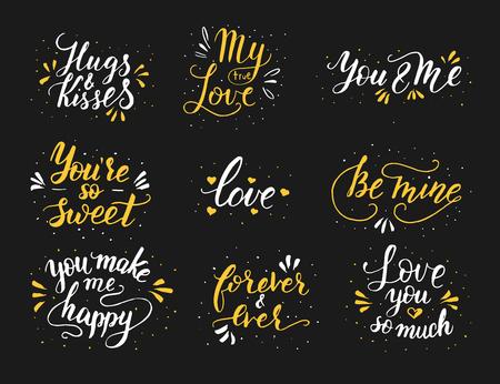 Hand drawn romantic quote set. Handwritten with brush pen. Иллюстрация