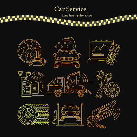 Vector thin line pictogram symbols of car service .