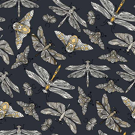 springtime: Seamless vector hand drawn pattern with fantasy butterflies, dragonflies, beetles, bugs and mothes. Illustration