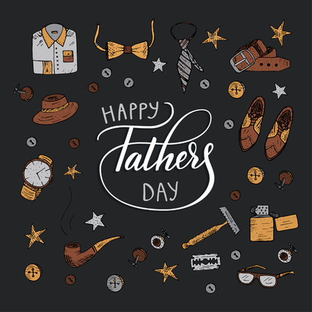 Quote Happy father s day. Excellent holiday card. Vector illustration.