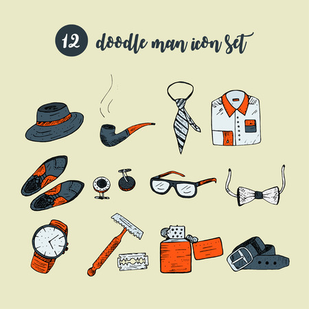Doodle vector icon set with man accessories and symbols. Gentlemans vintage accessories doodle set. Hand drawn men illustrations
