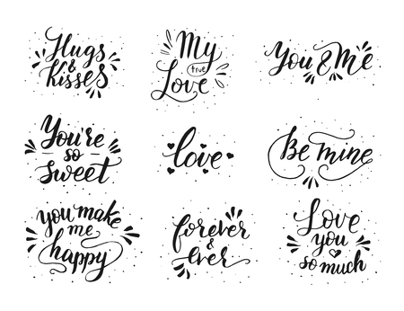 Hand drawn romantic quote set. Handwritten with brush pen. Ilustrace