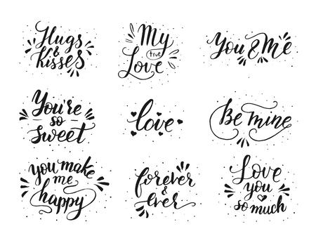Hand drawn romantic quote set. Handwritten with brush pen. Illustration