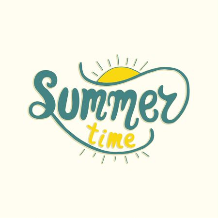 moderm: Summer time. Unique lettering poster. Vector art. Trendy handwritten summer illustration.