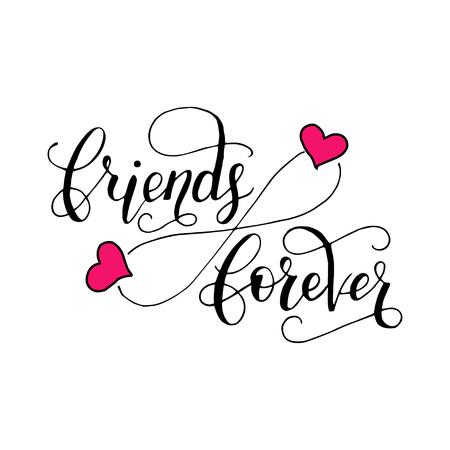 Briefkarte für Freundschaftstag. Handgezeichnete einzigartige Kalligraphie für Grußkarten, Tassen, T-Shirts, Ets. Standard-Bild - 80557843