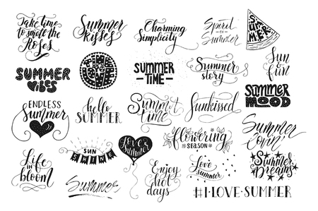 Big bundle of 25 vector hand drawn summer quotes. Handwritten with ink and brush pen. Фото со стока