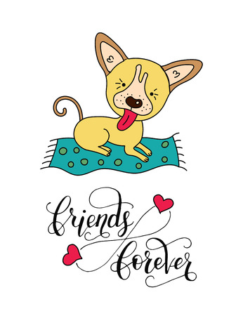 Vector dog card with handdrawn lettering message. Illustration