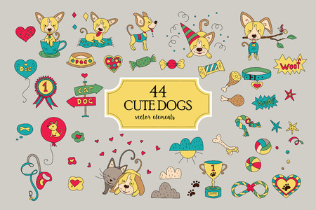 large group of business people: Big collection with funny vector dog characters. Illustration