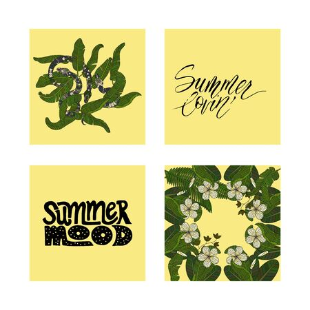 snake calligraphy: Set of summer tropical postcards with detailed tropical illustrations and handdrawn lettering quotes.