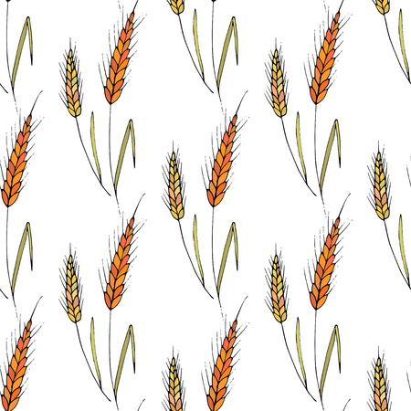 grain: Seamless vector background with wheat spikelets.