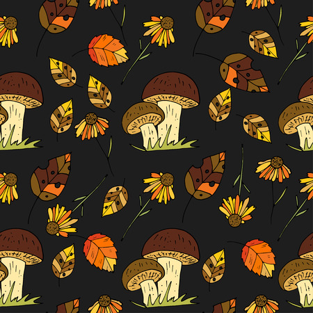 fall leaves: Autumn seamless vector pattern.