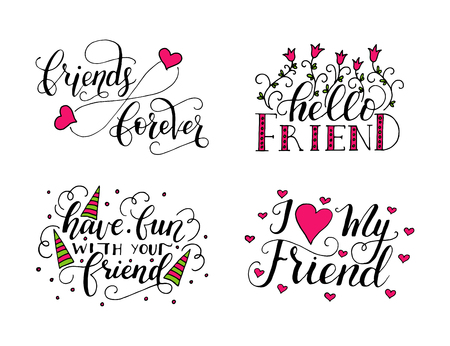 友情日のベクトル文字を設定します。手描きのグリーティング カード、マグカップ、t シャツ、ets のユニークな書道。  イラスト・ベクター素材