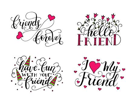 벡터 레터링 우정의 날을 설정합니다. 인사 장, 머그잔, 티셔츠, ets에 대한 손으로 그린 독특한 서예.