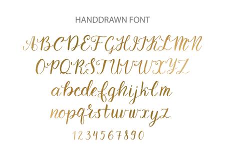 Handdrawn Vector Script font.  Brush style textured calligraphy cursive typeface. Banco de Imagens - 84115070