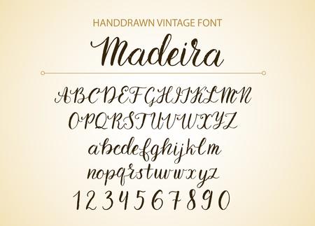 Handdrawn Vector Script font.  Brush style textured calligraphy cursive typeface. Banco de Imagens - 84115071