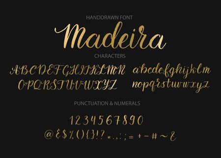 Handdrawn Vector Script font.  Brush style textured calligraphy cursive typeface. Banco de Imagens - 85397016