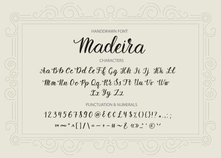 Handdrawn Vector Script font.  Brush style textured calligraphy cursive typeface. Banco de Imagens - 86098926