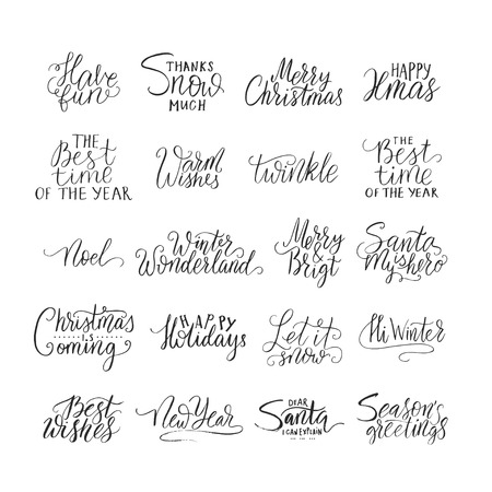 Merry Christmas brush lettering typography. Handwriting text design with winter handdrawn lettering. Happy New Year lettering set. Vector logo, emblems, text design. Usable for banners, greeting cards, gifts etc.