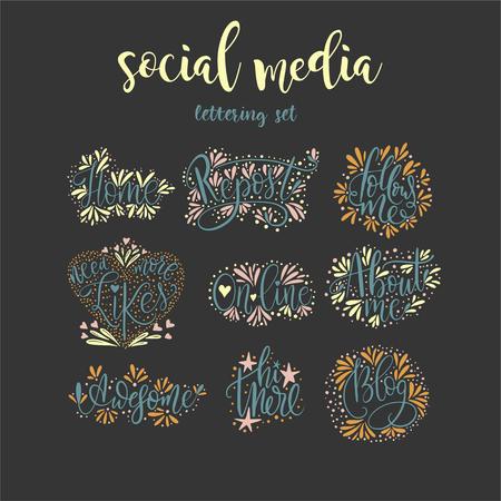 Social media lettering set.