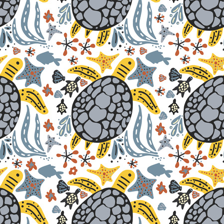 Vector handdrawn sea pattern with various marine animals. Vectores