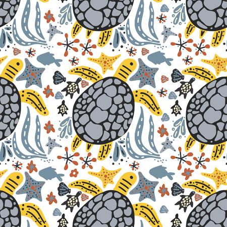 Vector handdrawn sea pattern with various marine animals. Illustration
