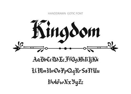Blackletter gothic script hand-drawn font. Vector illustration. Stock Illustratie