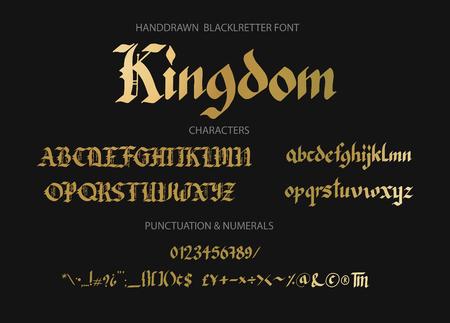 Blackletter gothic script hand-drawn font. Stock Illustratie