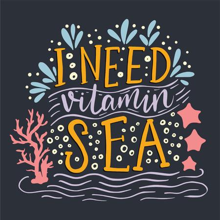 I need vitamin sea lettering on black background
